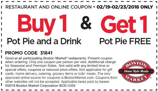 Boston Market Coupon October 2018 Second pot pie free at Boston Market restaurants