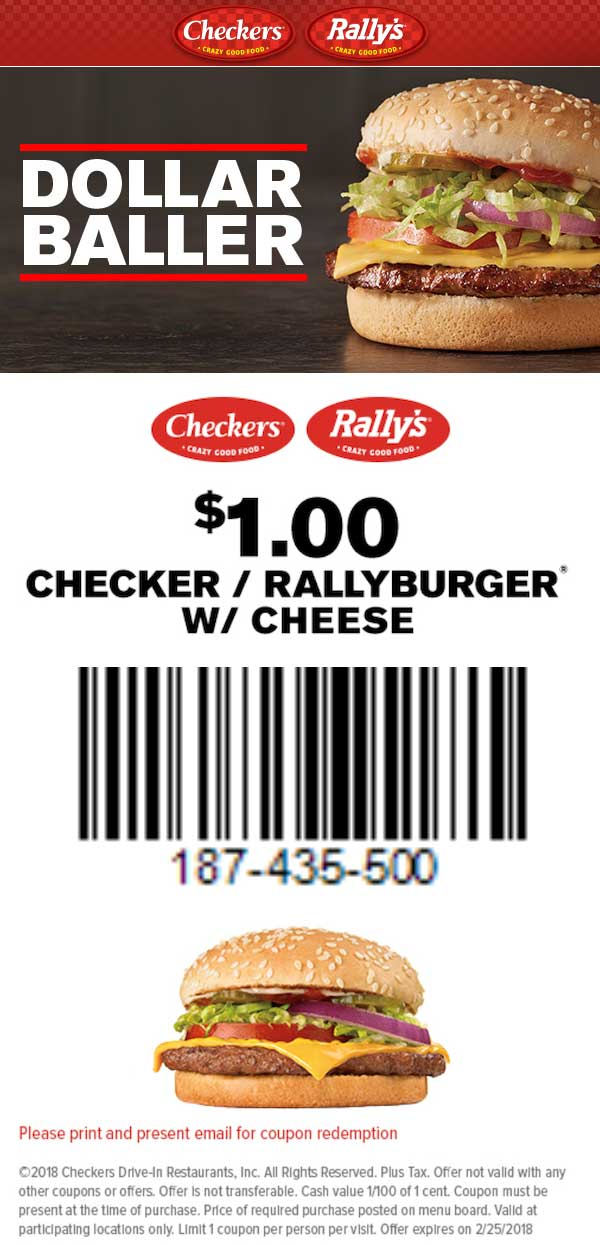 Checkers.com Promo Coupon $1 cheeseburger at Rallys & Checkers restaurants