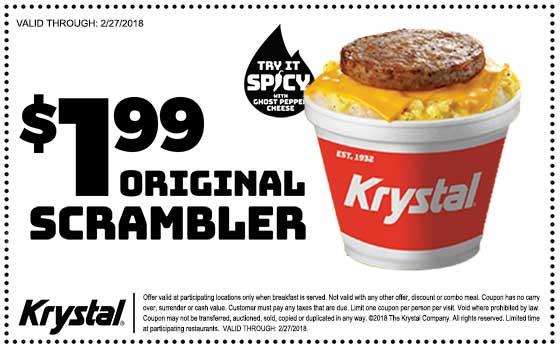 Krystal Coupon March 2019 $2 sausage egg breakfast scrambler at Krystal restaurants