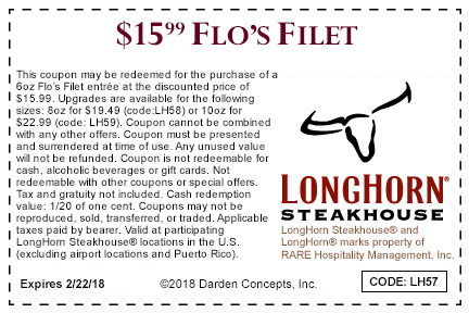 Longhorn Steakhouse Coupon May 2019 $16 6oz filet mignon steak at Longhorn Steakhouse