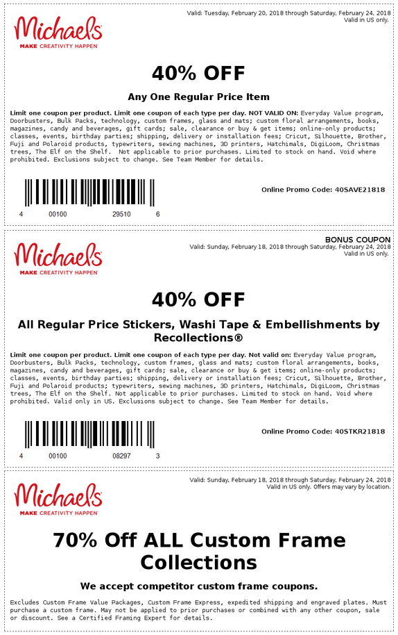 Michaels.com Promo Coupon 40% off a single item & more at Michaels, or online via promo code 40SAVE21818