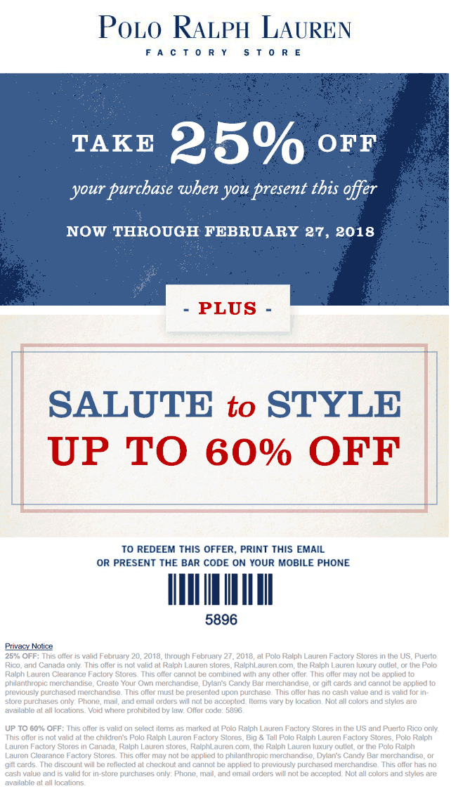 PoloRalphLaurenFactory.com Promo Coupon 25% off at Polo Ralph Lauren Factory