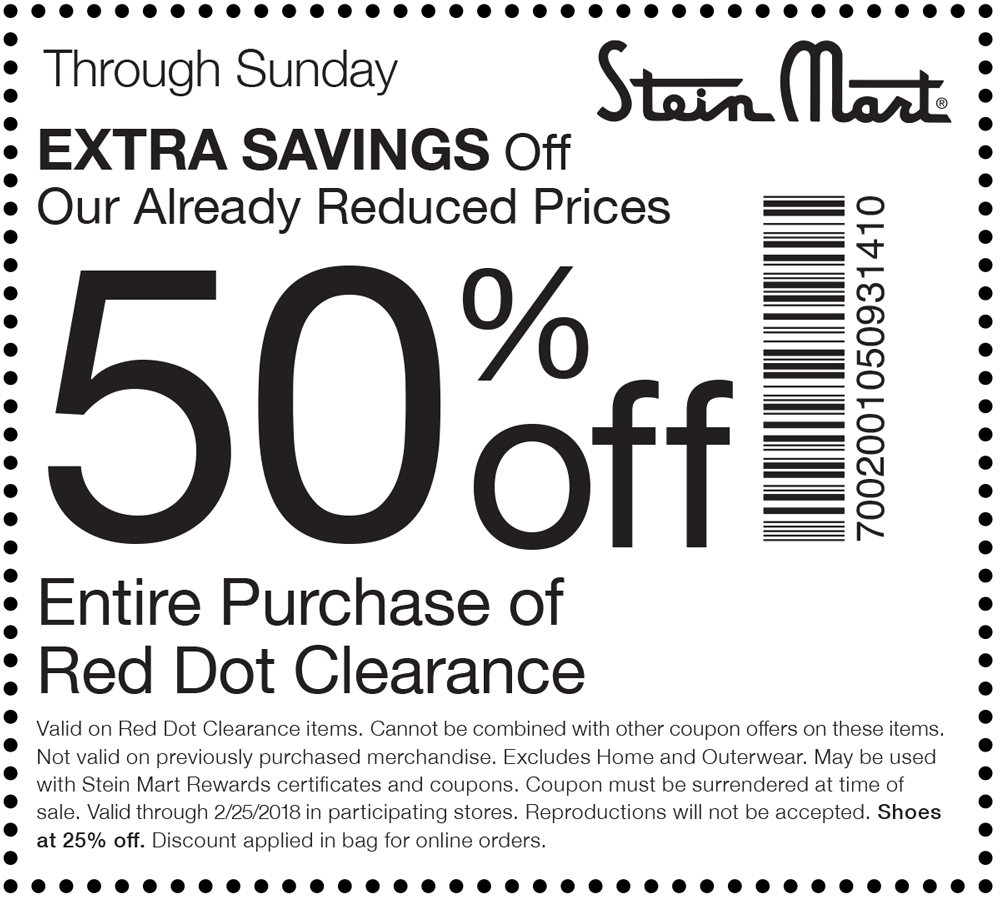 Stein Mart Coupon March 2019 Extra 50% off clearance at Stein Mart