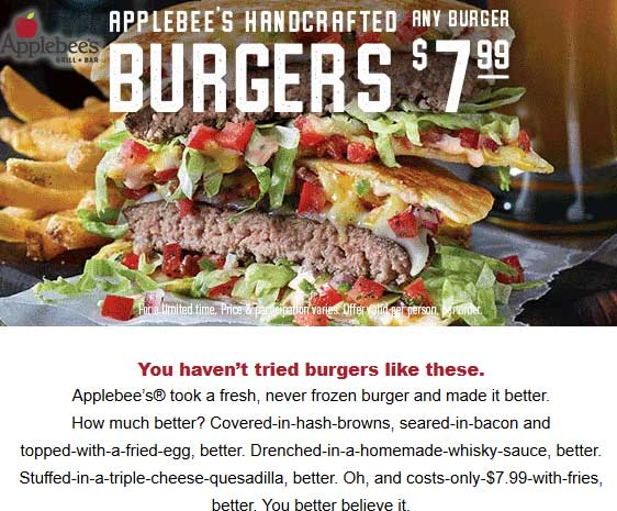 Applebees.com Promo Coupon Any burger + fries = $8 at Applebees