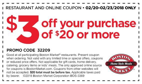 Boston Market Coupon December 2018 $3 off $20 at Boston Market restaurants