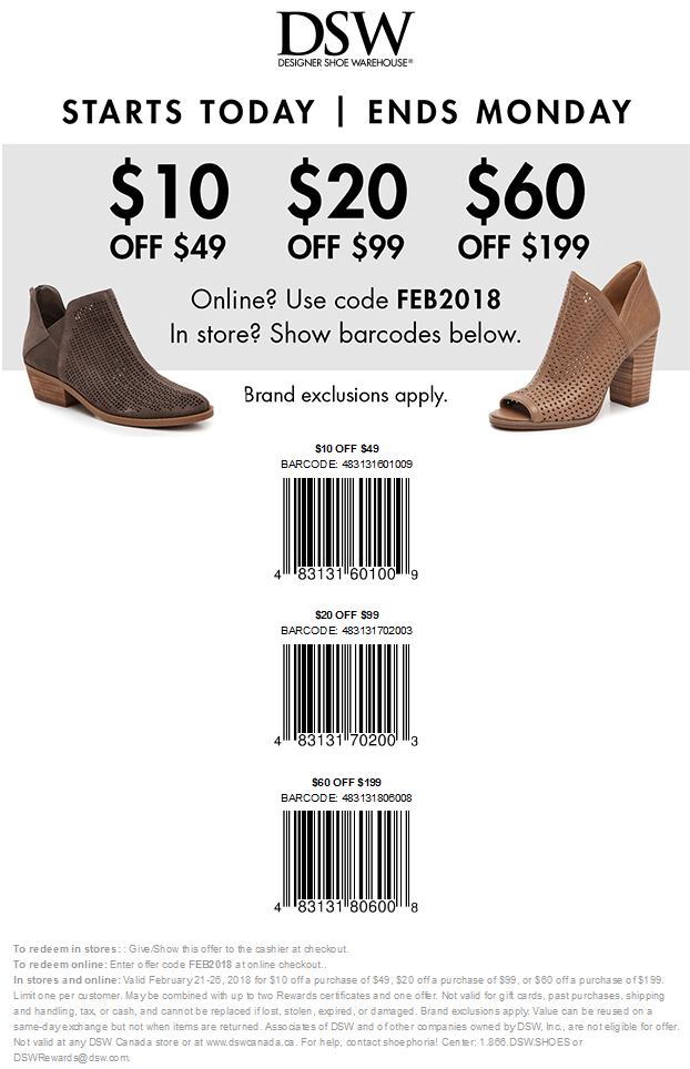 DSW Coupon March 2019 $10 off $49 & more at DSW Shoes, or online via promo code FEB2018