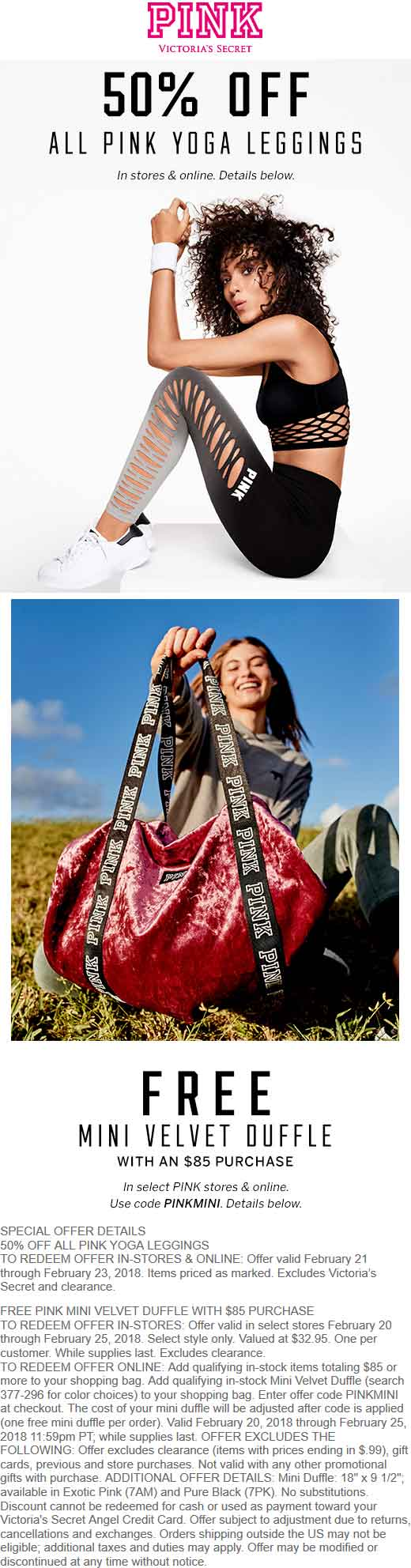 VictoriasSecret.com Promo Coupon Free velvet duffle bag with $85 spent & more at Victorias Secret PINK, or online via promo code PINKMINI
