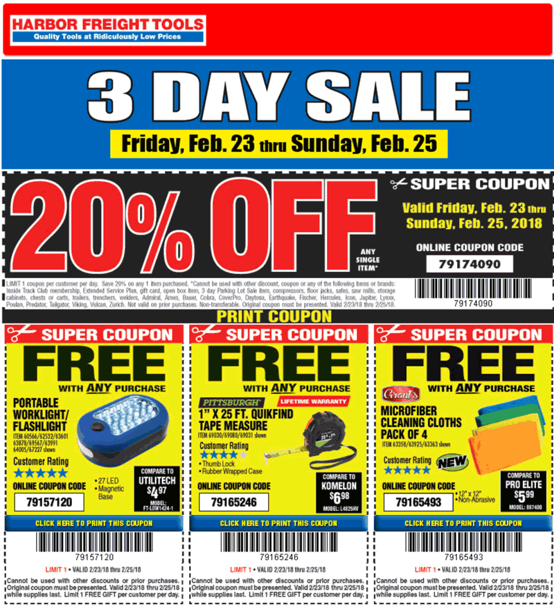 HarborFreight.com Promo Coupon 20% off a single item & more at Harbor Freight Tools, or online via promo code 79174090