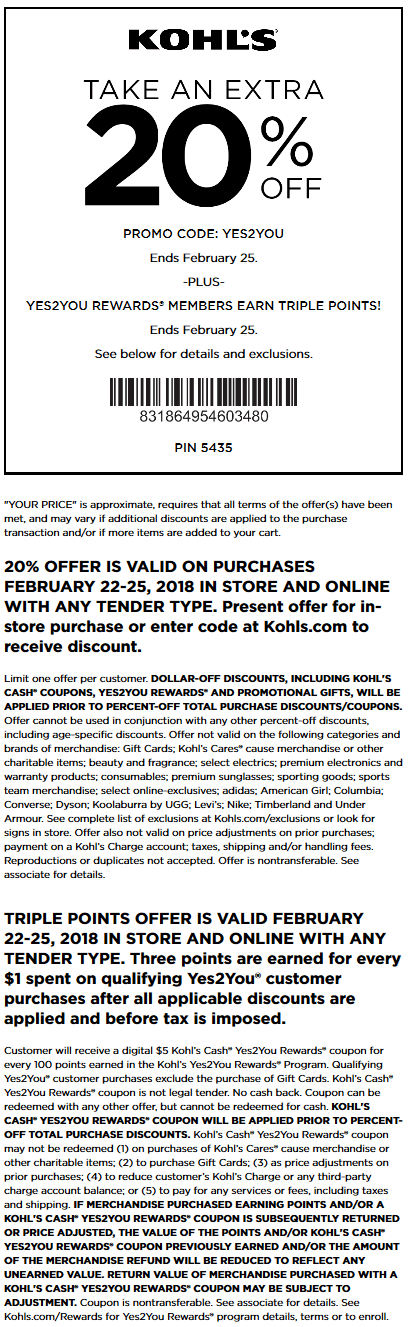 Kohls.com Promo Coupon 20% off at Kohls, or online via promo code YES2YOU