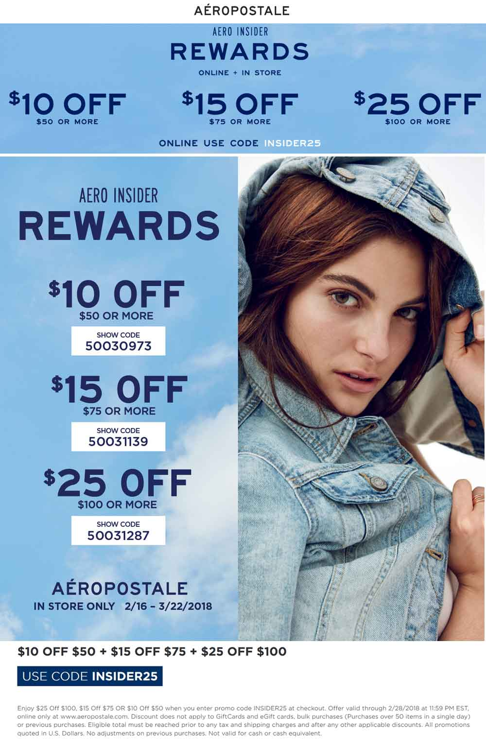 Aeropostale.com Promo Coupon $10 off $50 & more at Aeropostale, or online via promo code INSIDER25