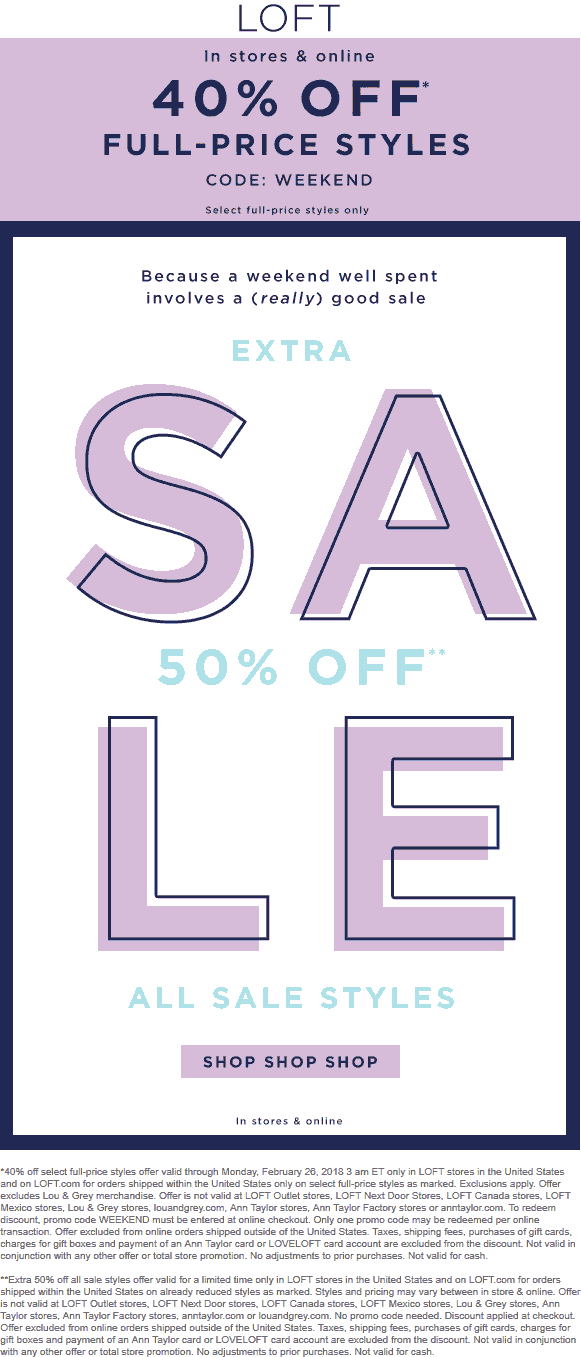 LOFT Coupon March 2019 40% off at LOFT, or online via promo code WEEKEND