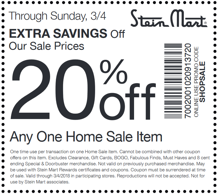 SteinMart.com Promo Coupon 20% off a single home sale item at Stein Mart, or online via promo code SHOPSALE
