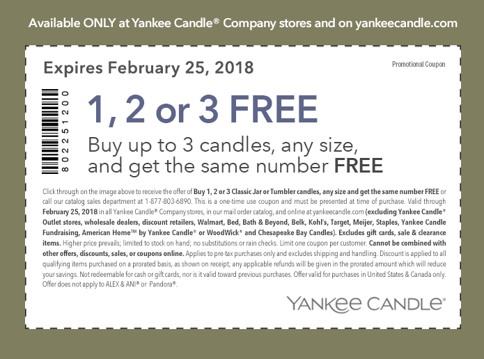 Yankee Candle Coupon December 2018 Second candle free at Yankee Candle, ditto online
