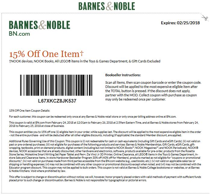 Barnes&Noble.com Promo Coupon 15% off a single item today at Barnes & Noble, or online via promo code L67XKCZ8JK537