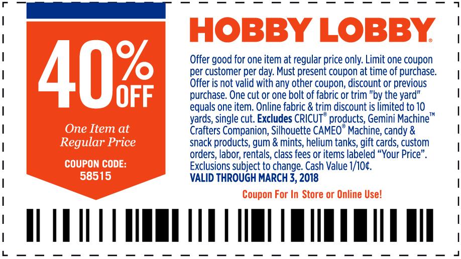 HobbyLobby.com Promo Coupon 40% off a single item at Hobby Lobby, or online via promo code 58515