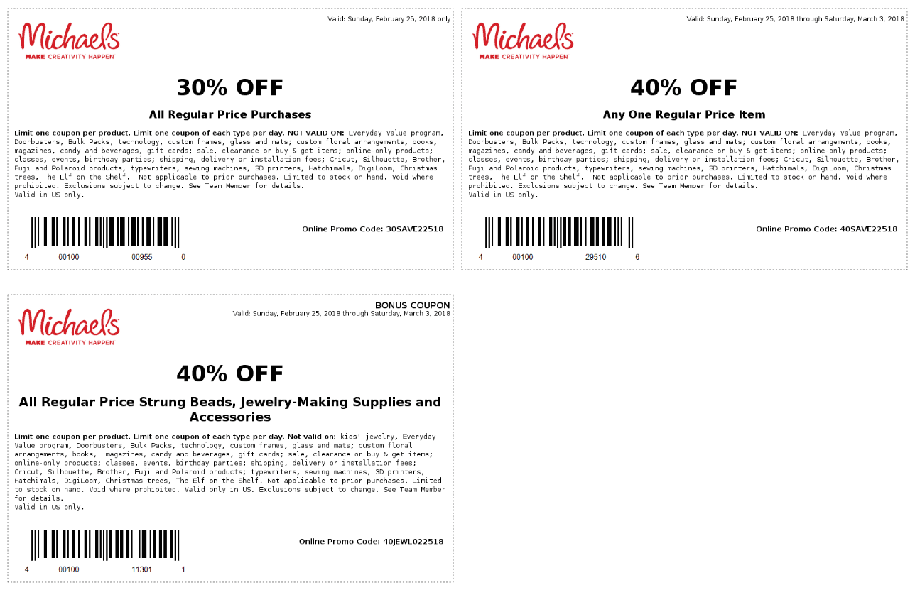 Michaels Coupon March 2019 40% off a single item & more at Michaels, or online via promo code 40SAVE22518