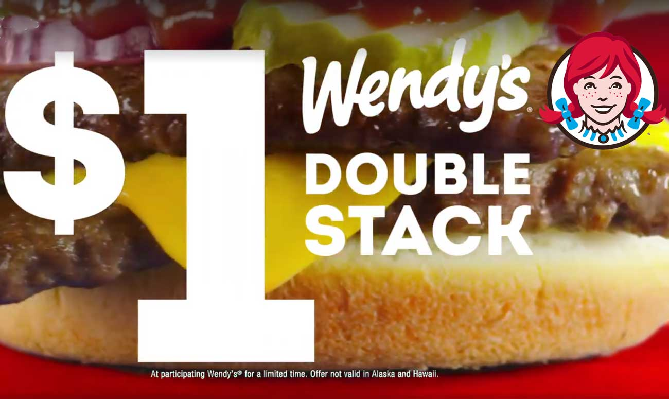 Wendys Coupon August 2018 $1 double stack cheeseburgers going on at Wendys