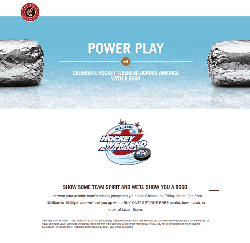Chipotle Coupon August 2018 Wear hockey jersey for a second burrito free Friday at Chipotle