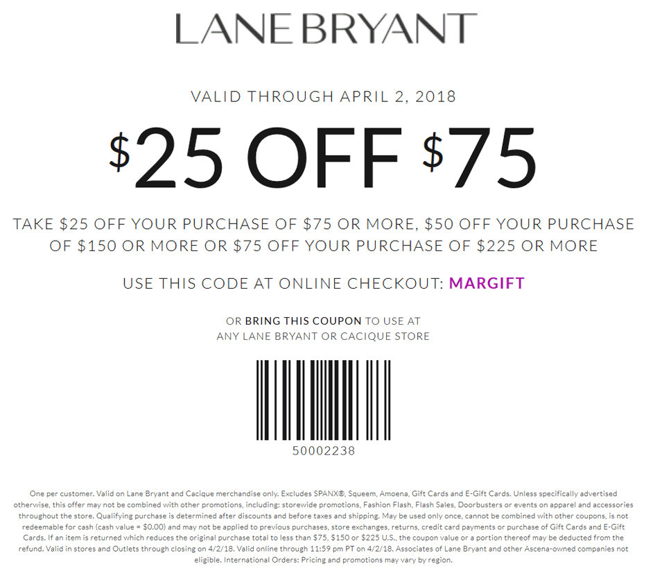 LaneBryant.com Promo Coupon $25 off $75 at Lane Bryant, or online via promo code MARGIFT
