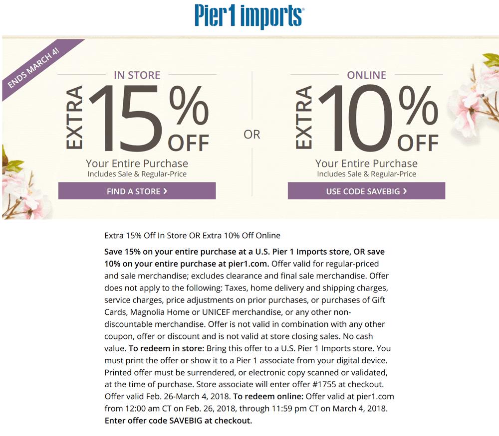 Pier1.com Promo Coupon Extra 15% off at Pier 1 Imports, or 10% online via promo code SAVEBIG