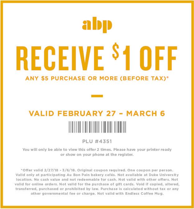 AuBonPain.com Promo Coupon $1 off $5 at Au Bon Pain restaurants