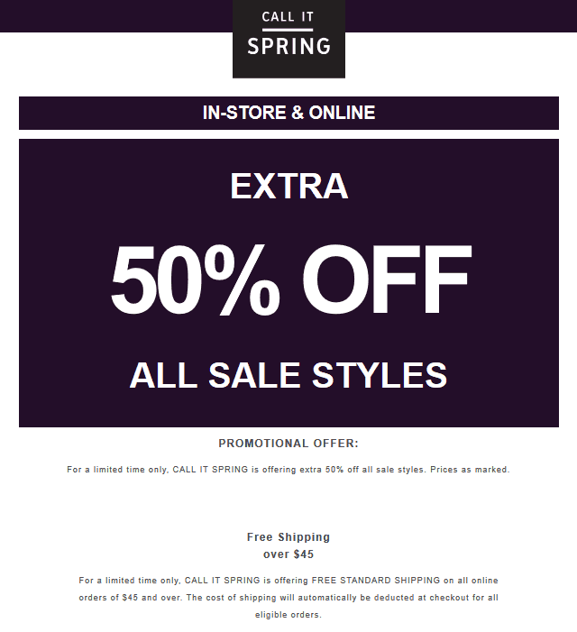 CallItSpring.com Promo Coupon Extra 50% off sale styles at Call It Spring, ditto online