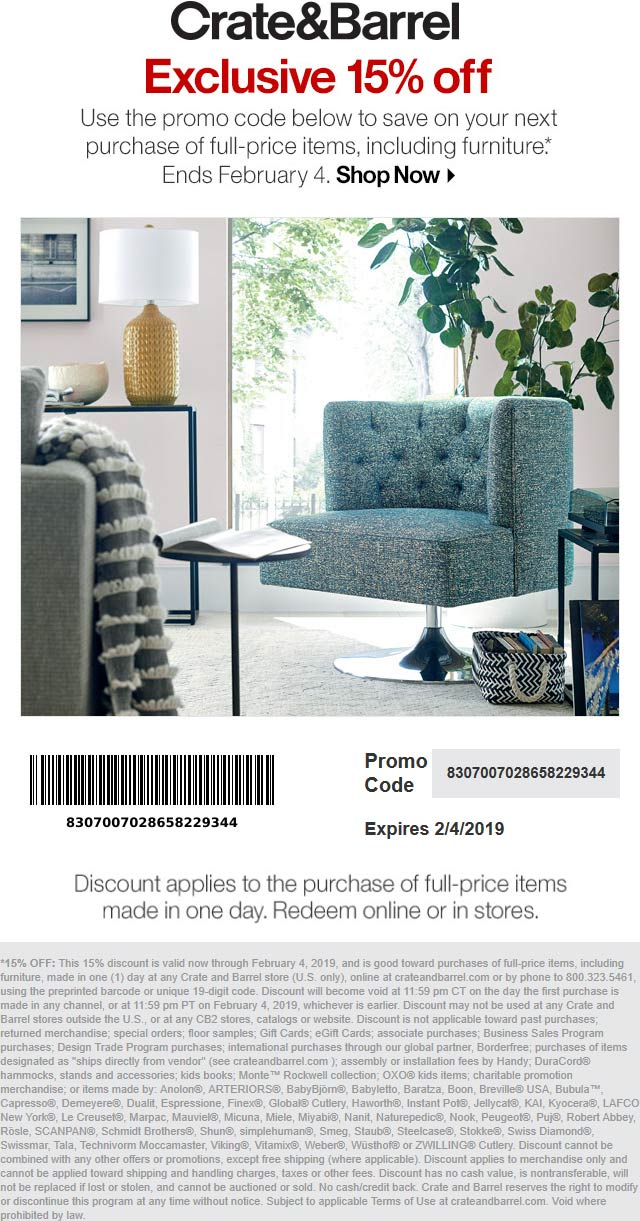 Crate & Barrel Coupon January 2020 15% off at Crate & Barrel, or online via promo code 8307007028658229344