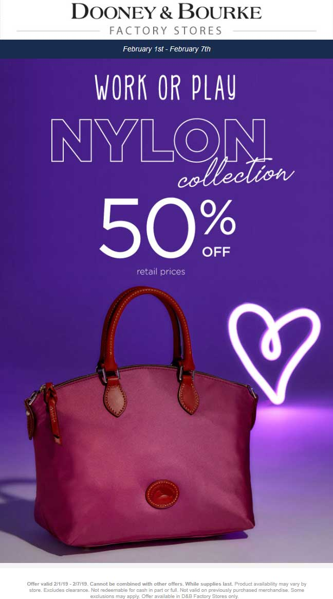 Dooney & Bourke Factory Coupon November 2019 50% off nylon at Dooney & Bourke Factory