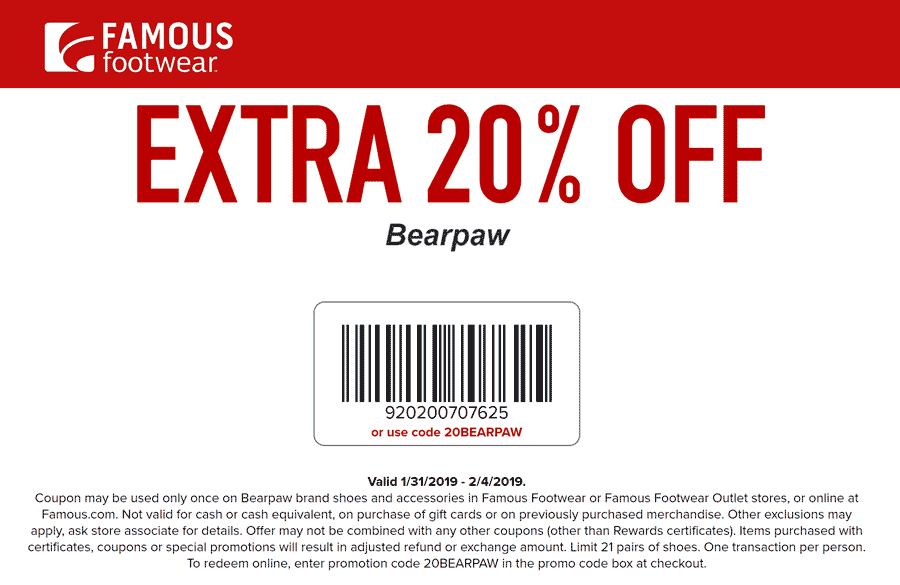 FamousFootwear.com Promo Coupon Extra 20% off bearpaw at Famous Footwear, or online via promo code 20BEARPAW