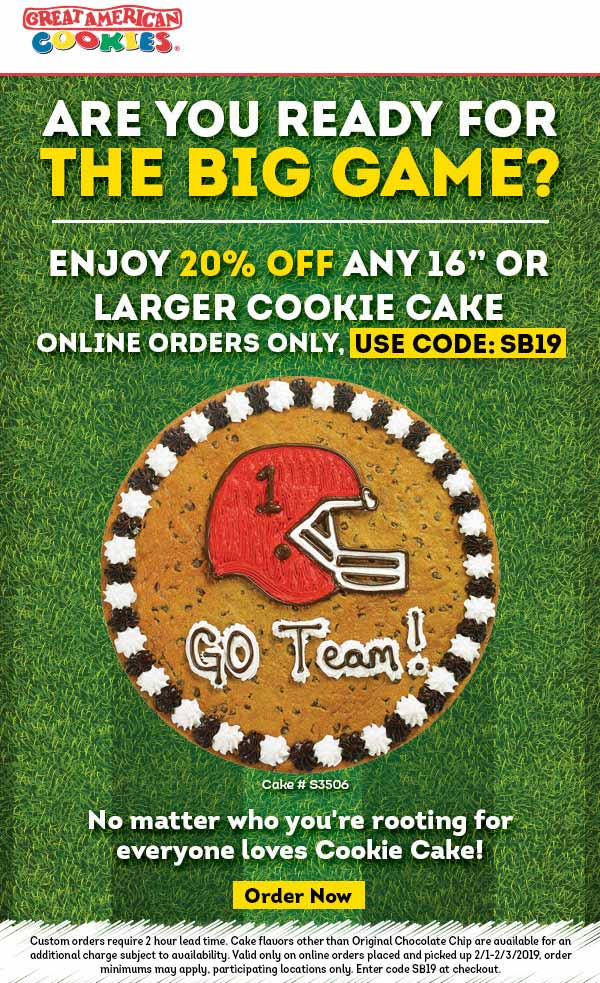 Great American Cookie Coupon July 2019 20% off a 16in cookie at Great American Cookie via promo code SB19