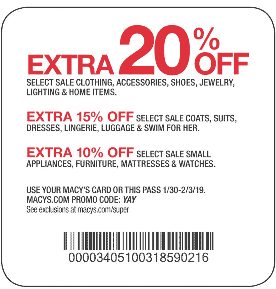 Macys Coupon August 2019 Extra 20% off at Macys, or online via promo code YAY
