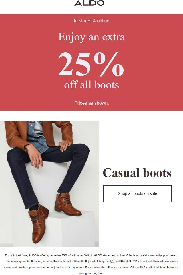 Aldo Coupon August 2019 Extra 25% off boots at Aldo, ditto online