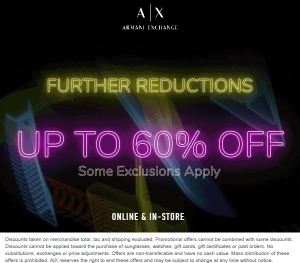 Armani Exchange Coupon September 2019 60% off sale going on at Armani Exchange, ditto online