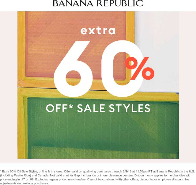 Banana Republic Coupon November 2019 Extra 60% off sale items at Banana Republic, ditto online