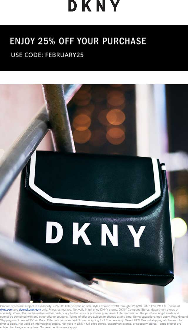 DKNY Coupon September 2019 25% off online at DKNY via promo code FEBRUARY25