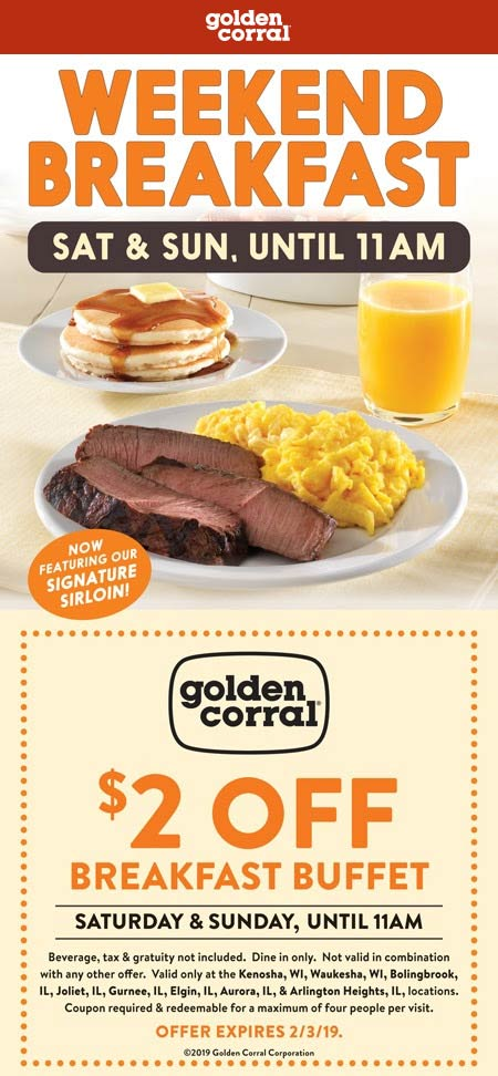 Golden Corral Coupon March 2019 $2 off breakfast at Golden Corral