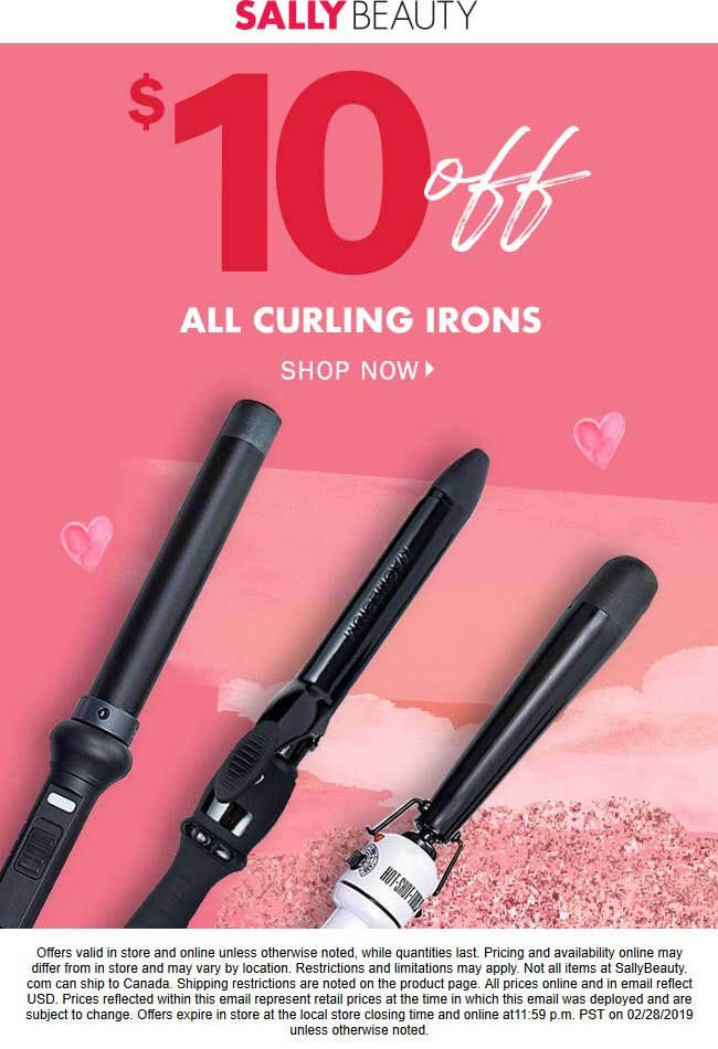 Sally Beauty Coupon August 2019 $10 off curling irons at Sally Beauty, ditto online