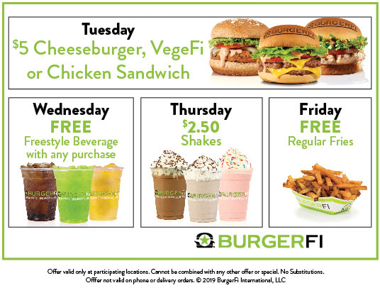 BurgerFi Coupon January 2020 $5 cheeseburger & more at BurgerFi restaurants
