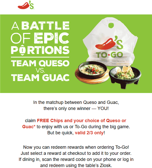 Chilis Coupon May 2019 Free chips & guac or queso today at Chilis, also for takeout