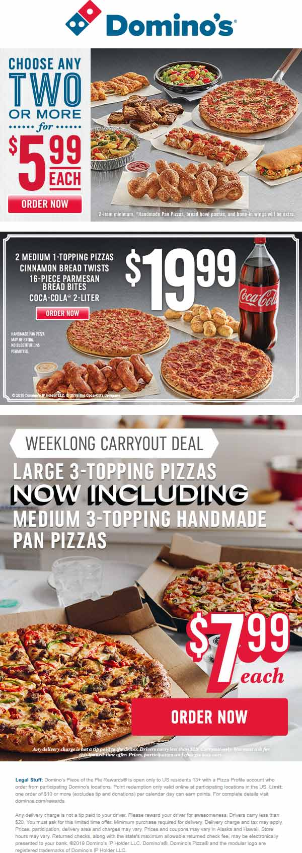 Dominos Coupon October 2019 $6 pizzas & more at Dominos