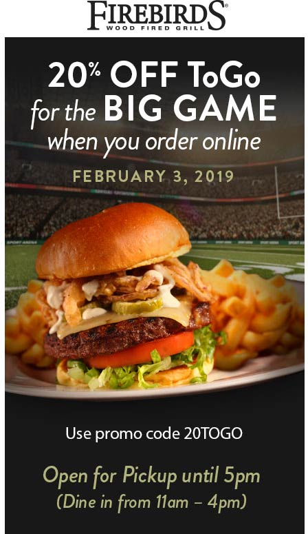Firebirds Coupon August 2019 20% off online today at Firebirds restaurants via promo code 20TOGO