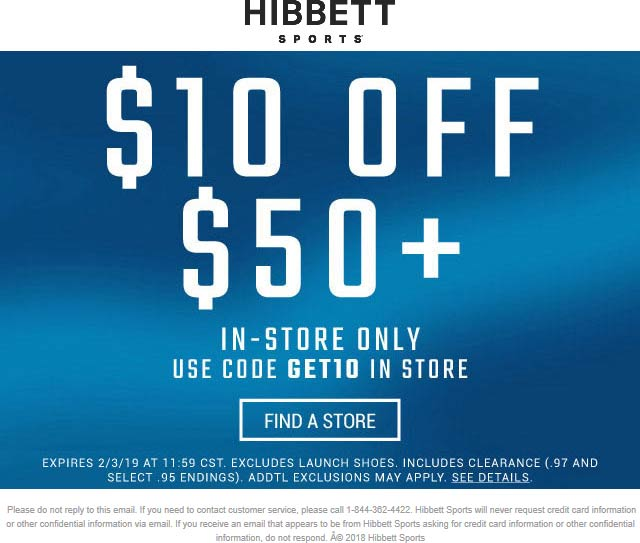 Hibbett Sports Coupon October 2019 $10 off $50 at Hibbett Sports