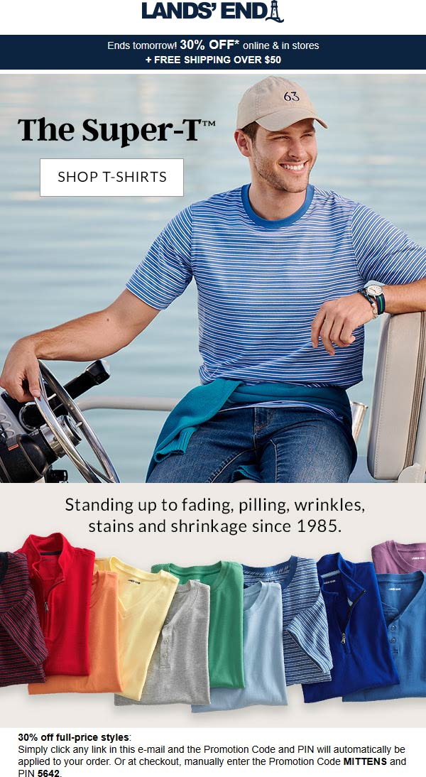 Lands End Coupon August 2019 30% off at Lands End, or online via promo code MITTENS and pin 5642