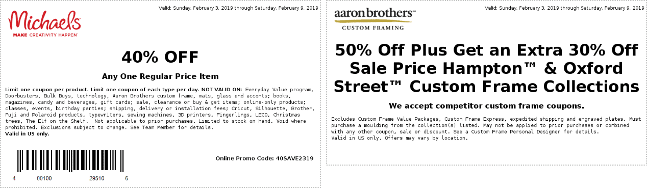 Michaels Coupon January 2020 40% off a single item at Michaels, or online via promo code 40SAVE2319