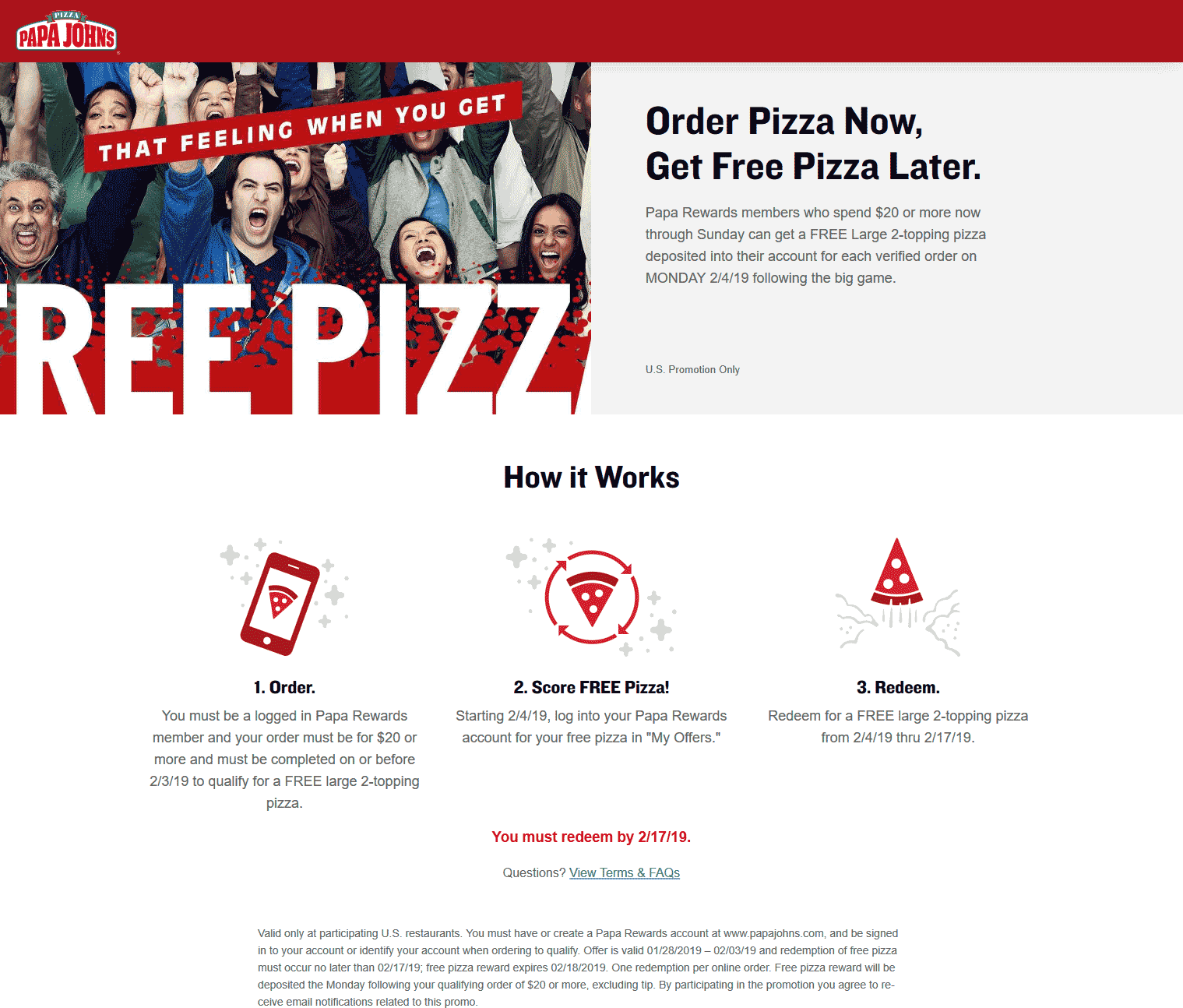 Papa Johns Coupon January 2020 Free pizza with $20 spent today at Papa Johns