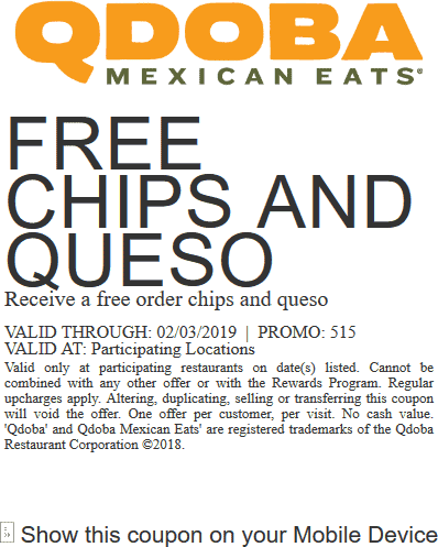 Qdoba Coupon July 2019 Free chips & queso today at Qdoba restaurants