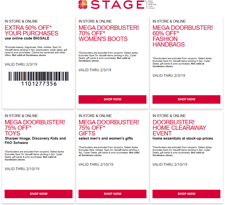 Stage.com Promo Coupon 50% off & more today at Stage stores, or online via promo code BIGSALE