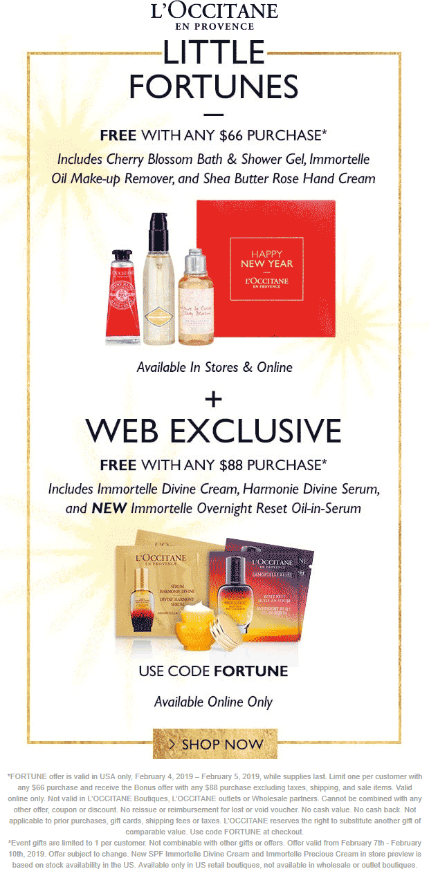 LOccitane Coupon August 2019 3pc free with $66 spent at LOccitane, or online via promo code FORTUNE