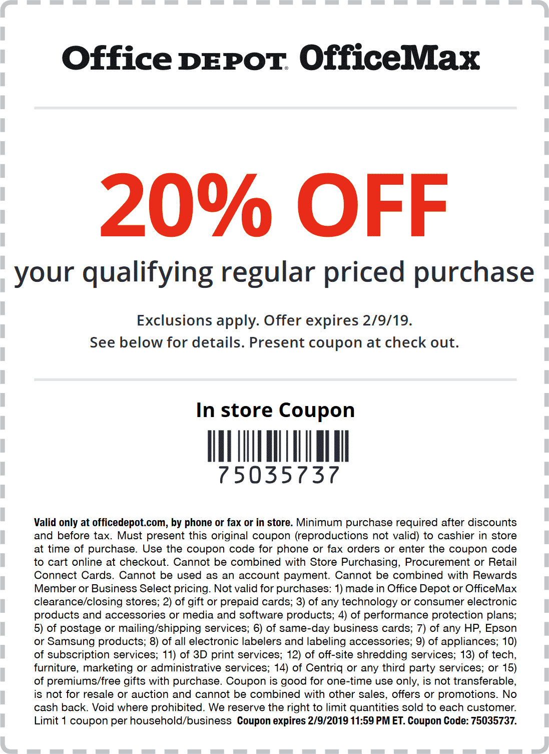 Office Depot Coupon October 2019 20% off at Office Depot & OfficeMax, or online via promo code 75035737