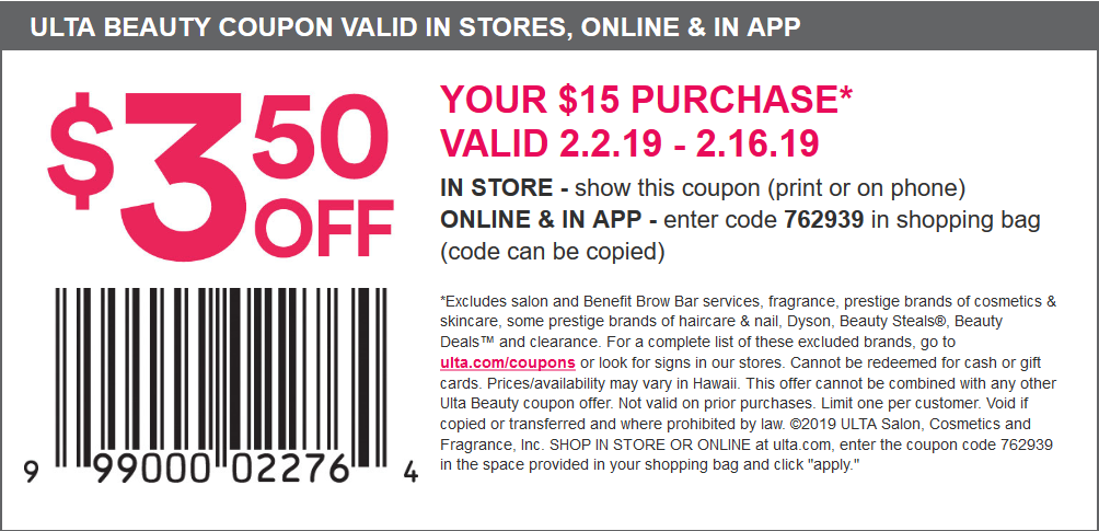 Ulta Coupon March 2019 $3.50 off $15 at Ulta Beauty, or online via promo code 762939
